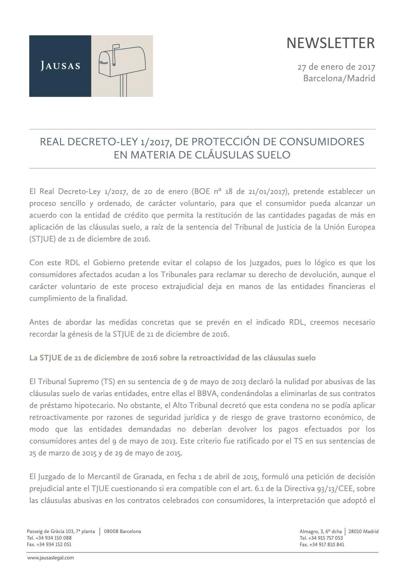 Real decreto ley 1 2017 de protecci n de consumidores en for Decreto gobierno clausulas suelo