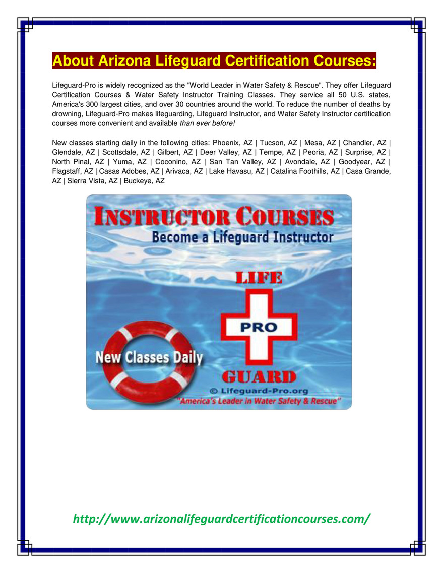 Arizona Lifeguard Certification Courses How To Become A Lifeguard