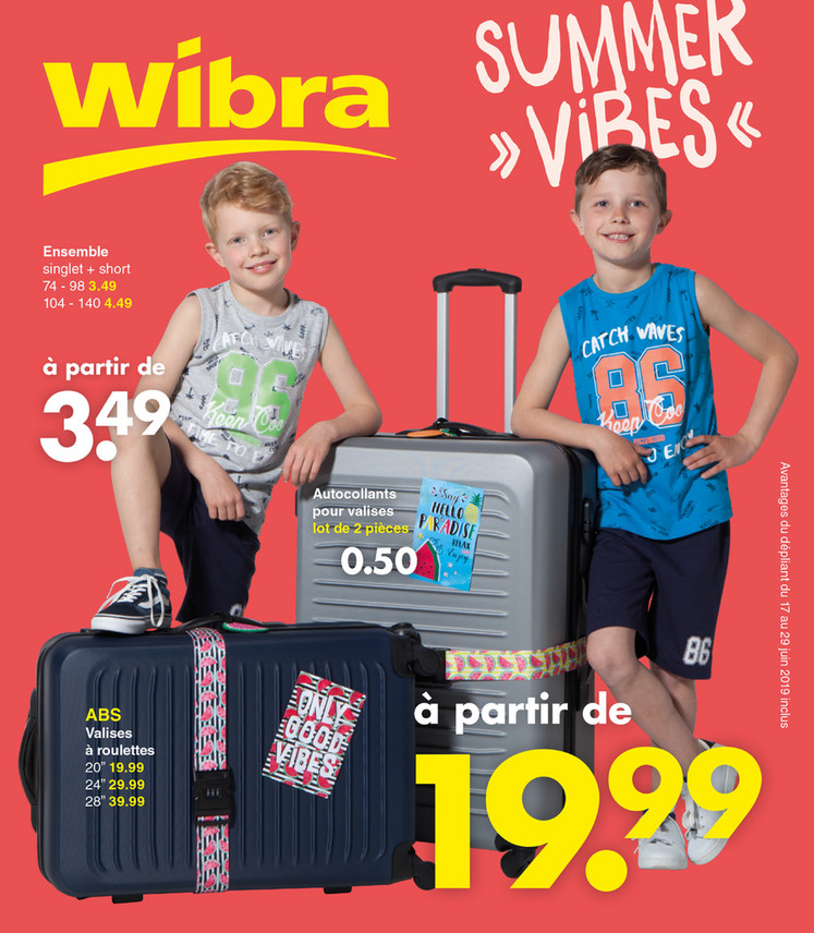 Folder Wibra du 17/06/2019 au 29/06/2019 - Promotions de la semaine 25