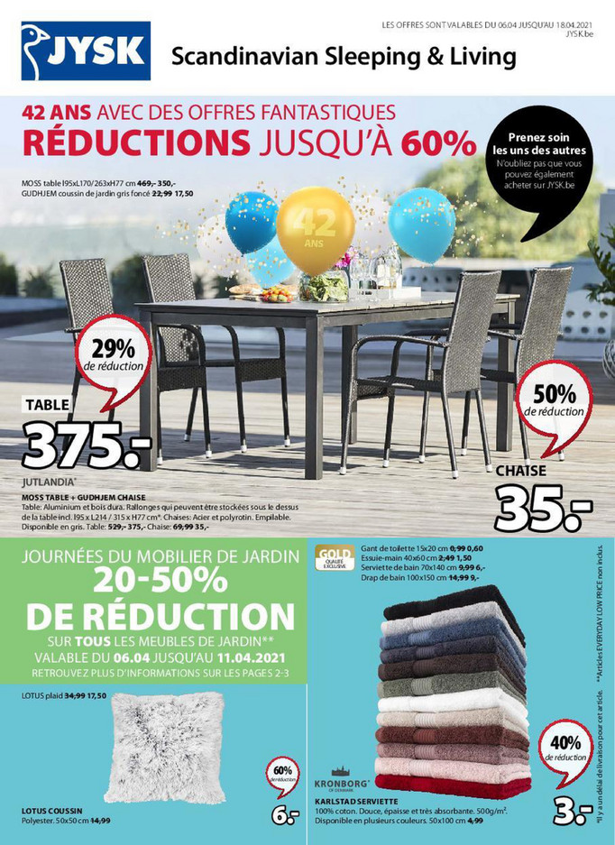 Folder Jysk du 06/04/2021 au 18/04/2021 - Promotions de la semaine 14