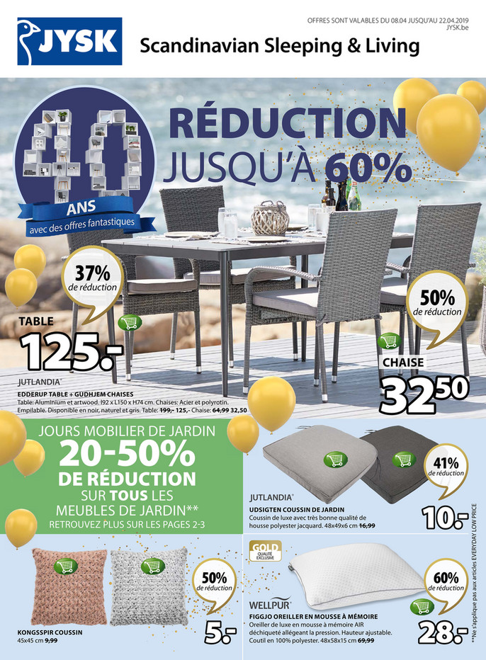 Folder Jysk du 08/04/2019 au 22/04/2019 - Promotions de la semaine 15