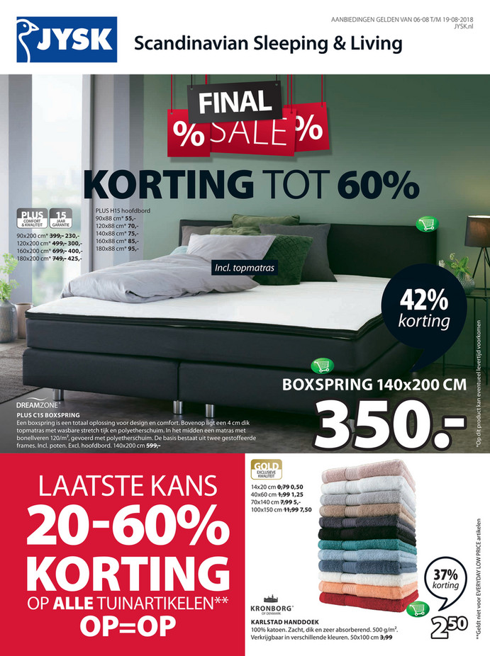 Jysk folder van 06/08/2018 tot 19/08/2018 - Bed promoties