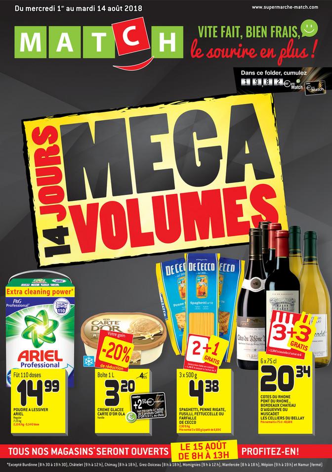 Folder Match du 01/08/2018 au 14/08/2018 - Promotions de la semaine Mega Volumes
