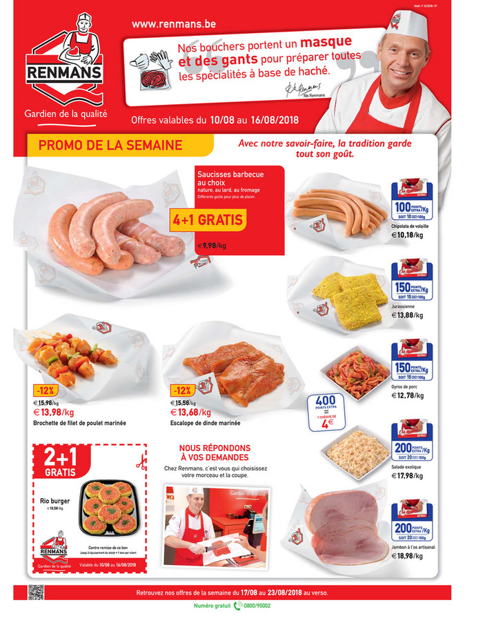 Folder Renmans du 10/08/2018 au 16/08/2018 - Promotions de la semaine