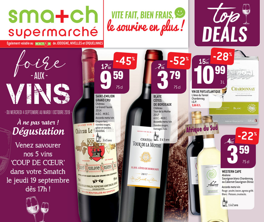 Folder Smatch du 04/09/2019 au 01/10/2019 - Promotions de la semaine 36