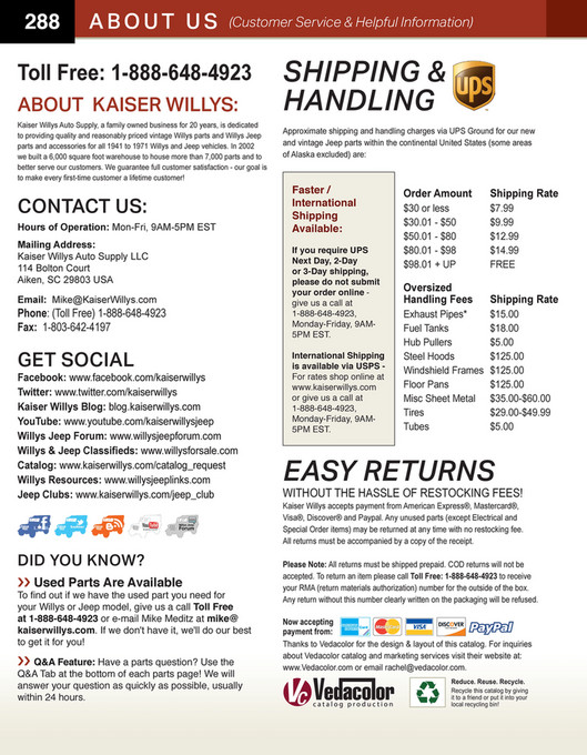 My publications - 2018 Kaiser Willys Jeep Parts Catalog - Page 288-289