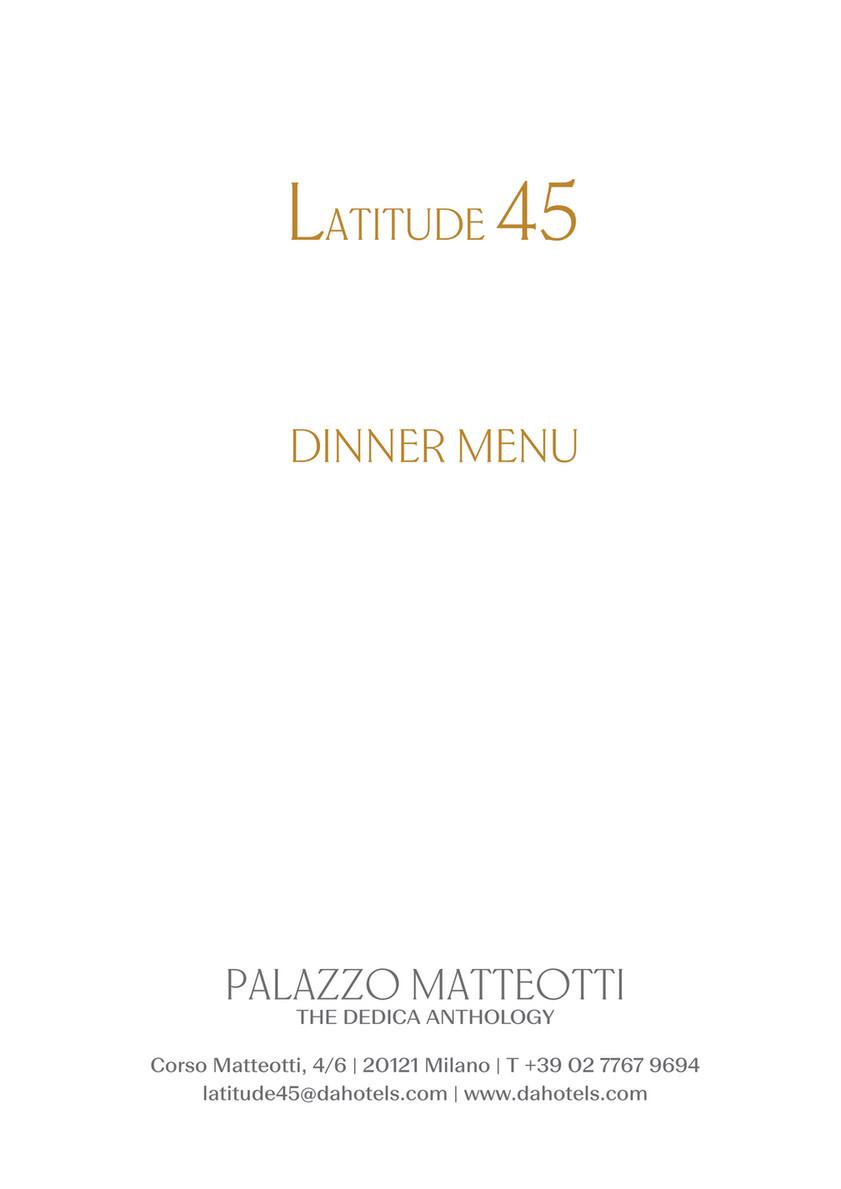 Terrazza Latitude 45 Milano Dinner Menu Page 1