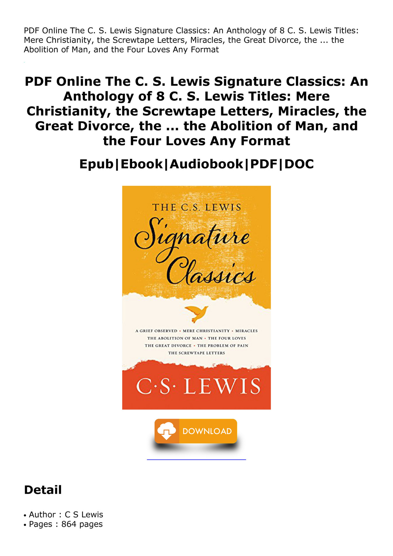 pdf online the c s lewis signature classics an anthology of 8 c s lewis titles mere christianity the screwtape letters miracles the great divorce