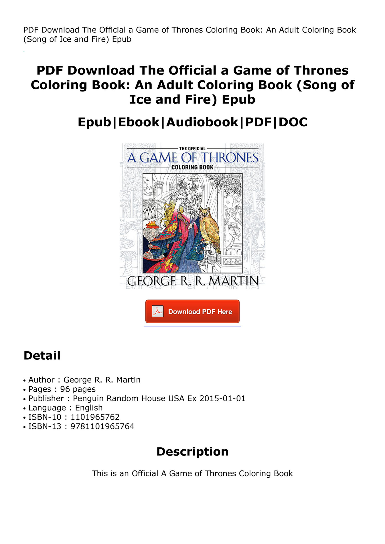 Costijudre Pdf The Official A Game Of Thrones Coloring