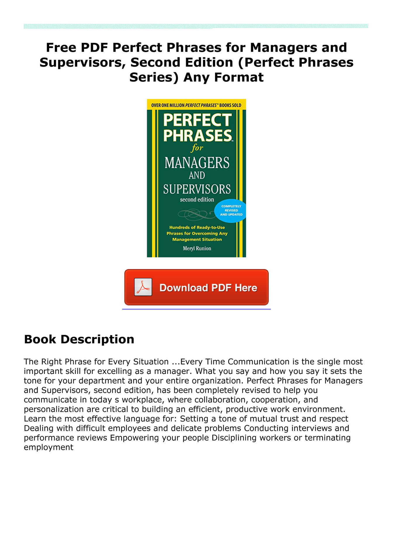Pefyalogna Free Pdf Perfect Phrases For Managers And Supervisors