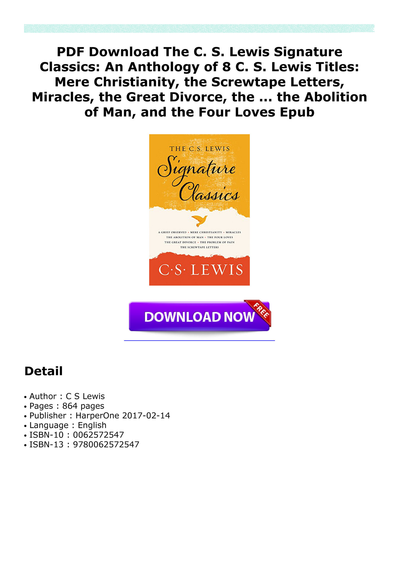 hastings pdf download the c s lewis signature classics an anthology of 8 c s lewis titles mere christianity the screwtape letters miracles