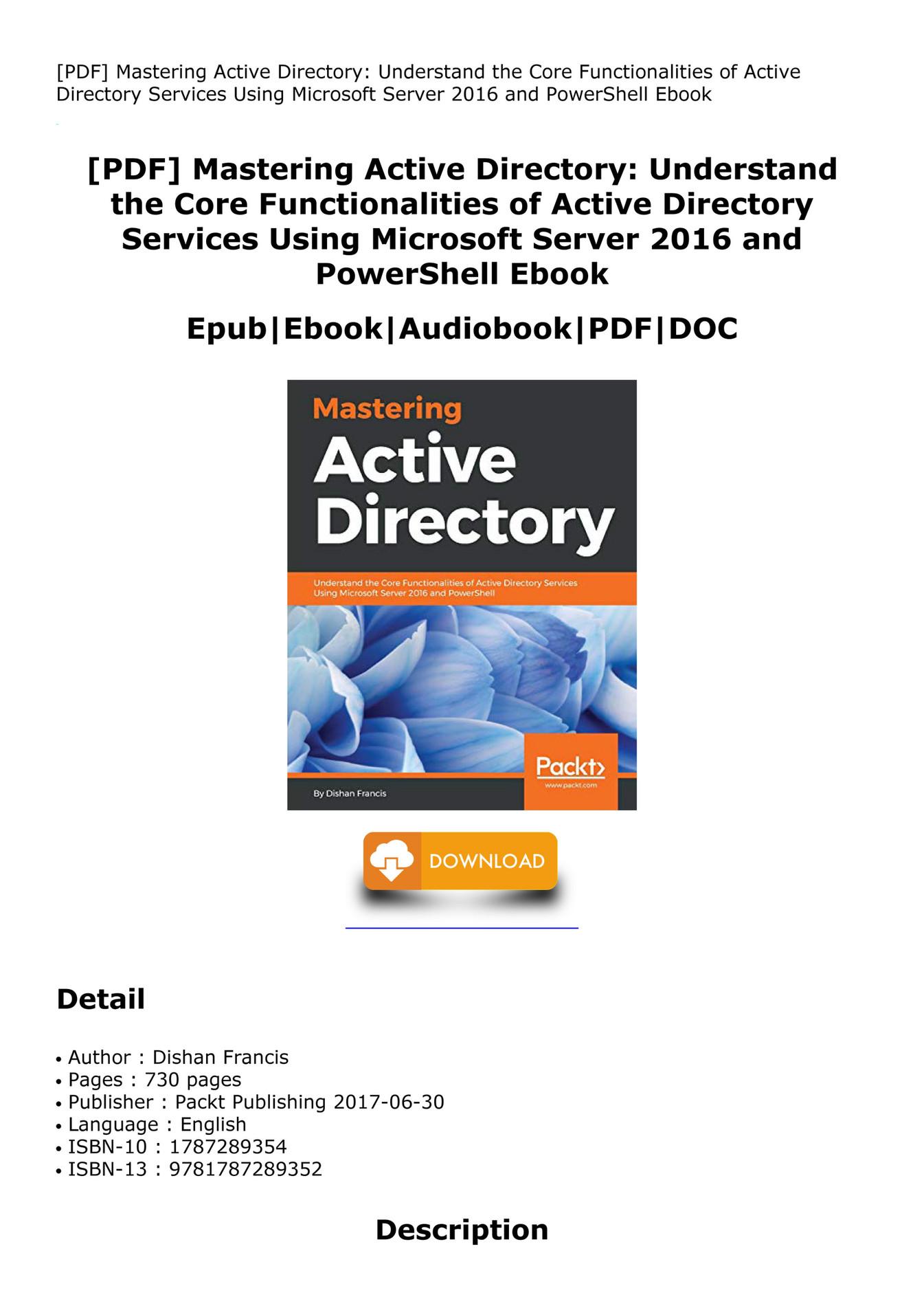 Zehu Pdf Mastering Active Directory Understand The Core