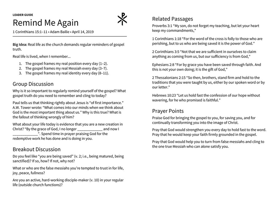 Christ Church - Gilbert Leader Guide (Remind Me Again) - Page 1
