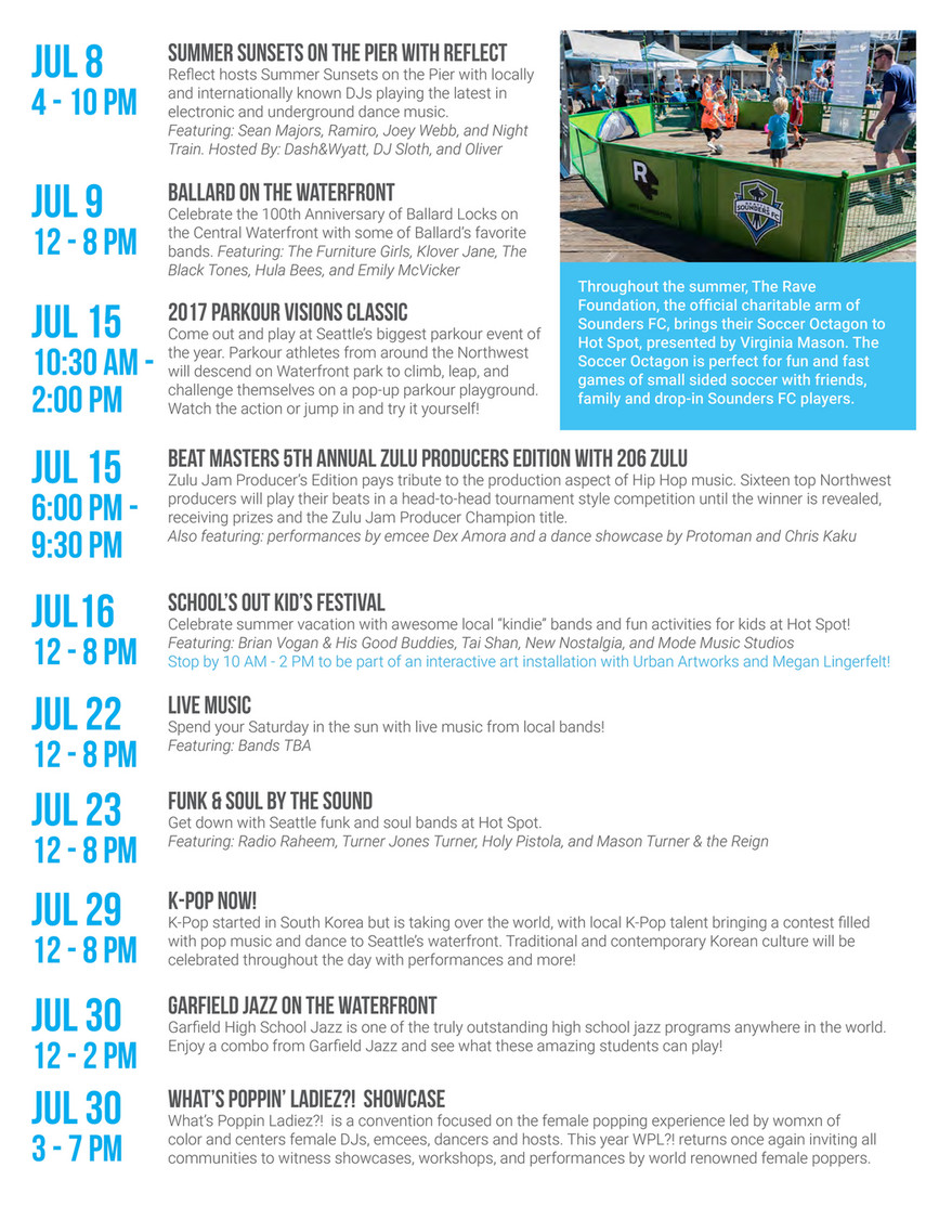 Friends of Waterfront Seattle - Hot Spot Schedule 2017 - Page 2