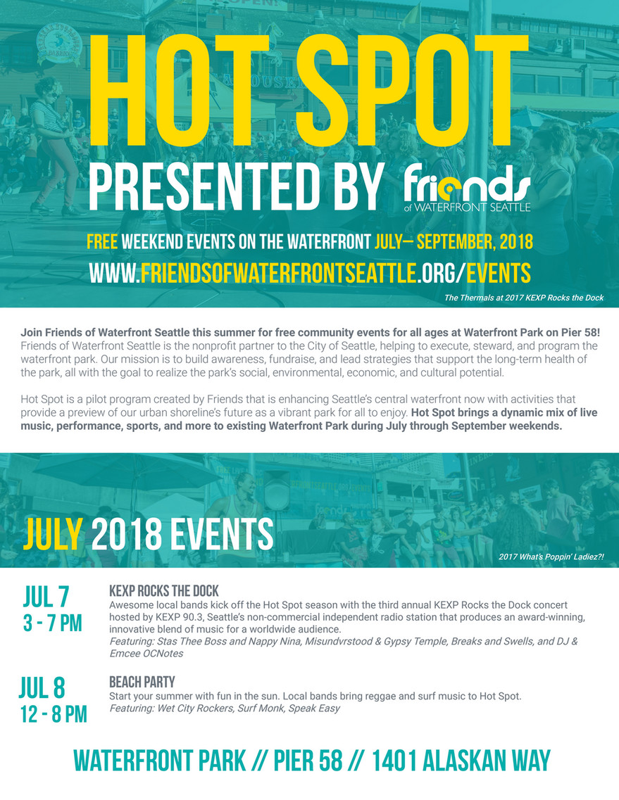 Friends of Waterfront Seattle - Hot Spot Schedule 2018 - Page 1