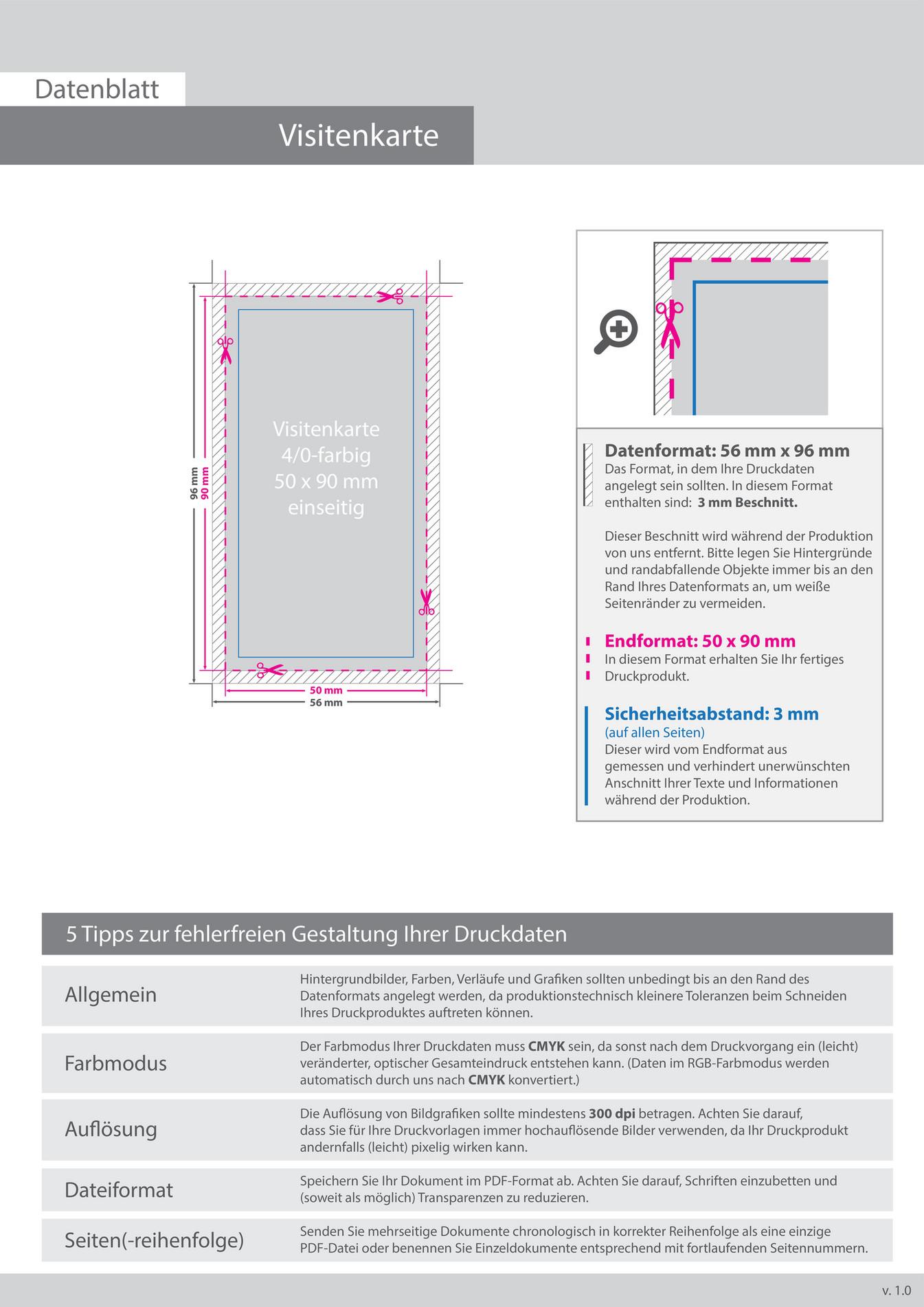 Shopabox Datenblatt Visitenkarten 90x 50 Einseitig