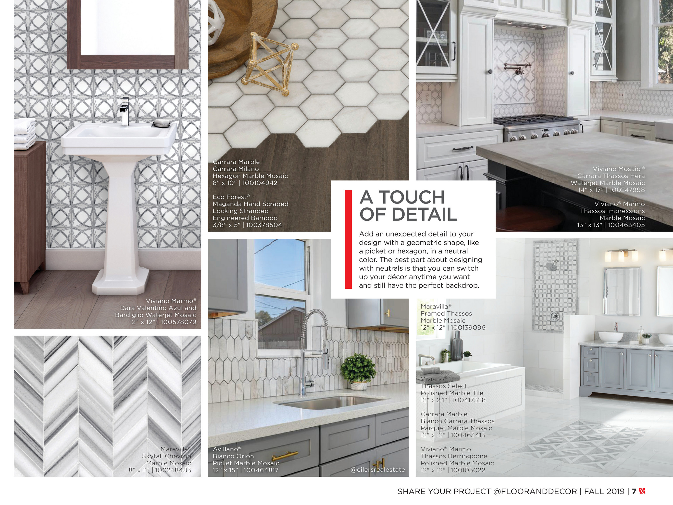 Fall 2019 Inspiration Catalog Floor Decor Viviano Marmo Thassos Herringbone Polished Marble Mosaic Tile 12 X 12 White 0 4 Inch Thick Floor Decor