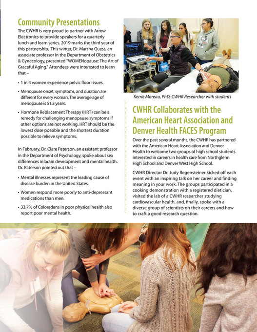 Center for Women's Health Research - CWHR Spring Newsletter