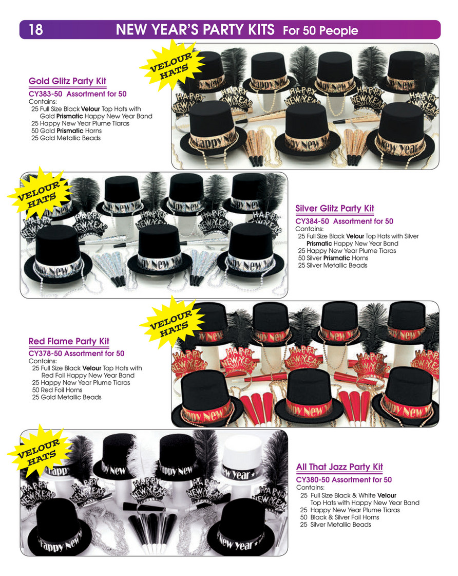 Silver Glitz New Years Party Kit for 50 Guests
