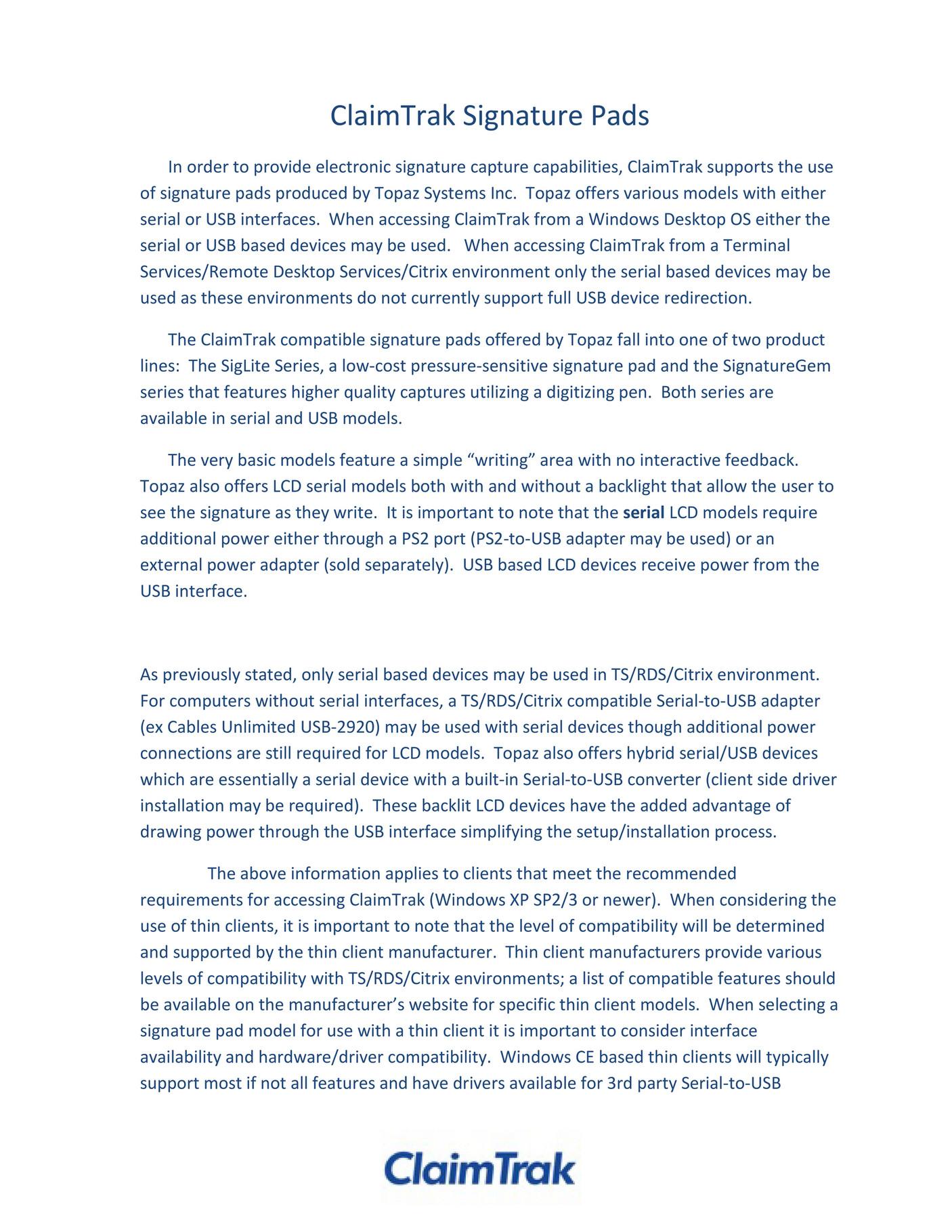 ClaimTrak - ClaimTrak Signature Pad Guidance - Page 2-3