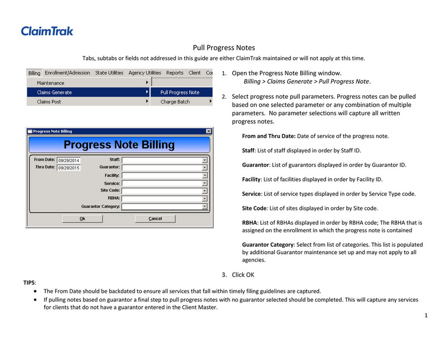 ClaimTrak - Pull Progress Notes - Page 1 - Created with