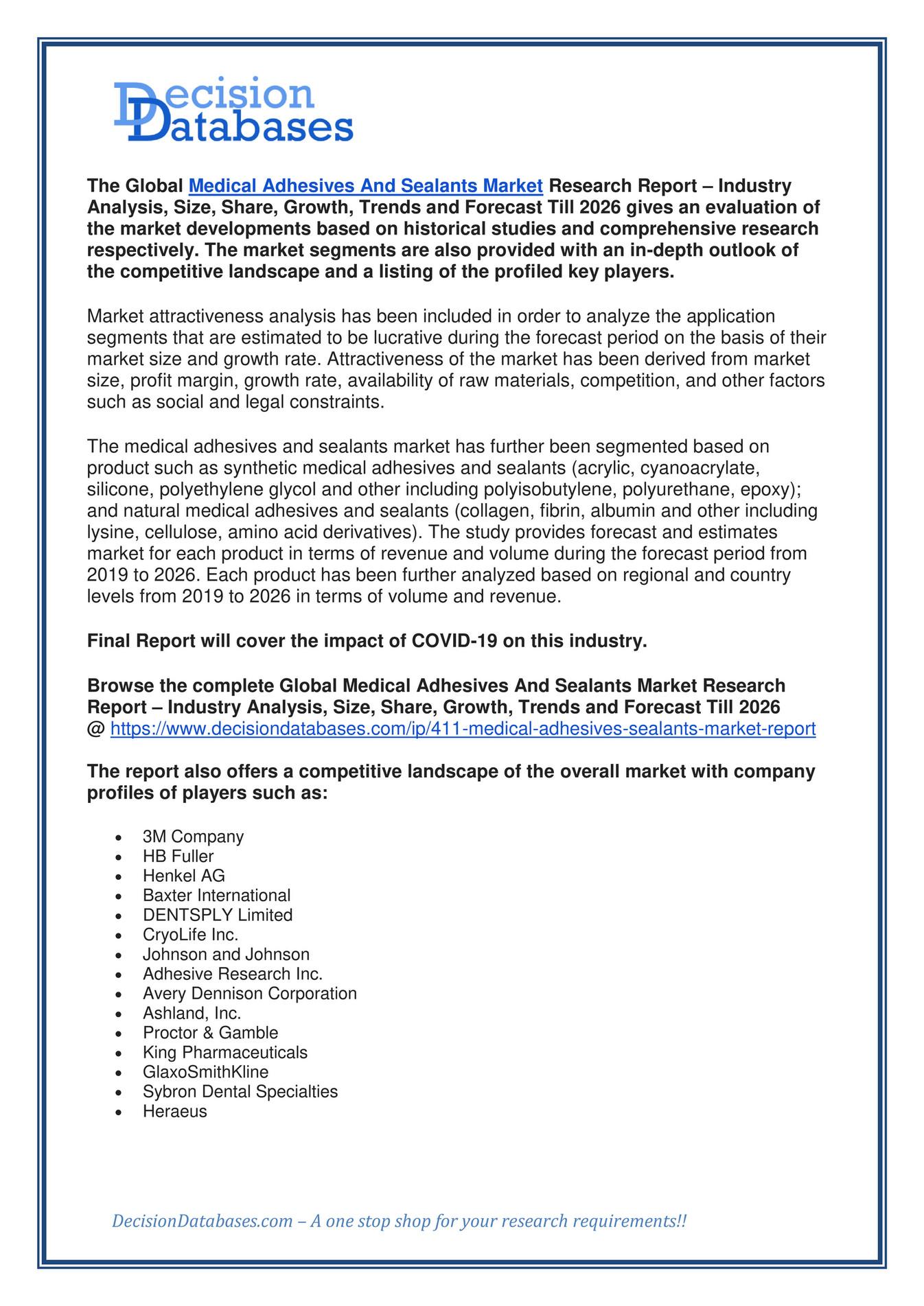 Global Medical Adhesives and Sealants Market Report Till 20 ...