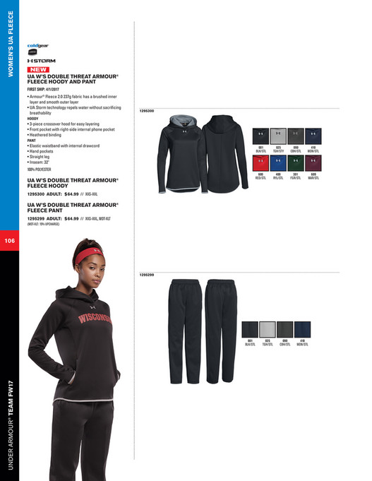 7ea820e1fe75 WOMEN S UA FLEECE NEW UA W S DOUBLE THREAT ARMOUR® FLEECE HOODY AND PANT  FIRST SHIP