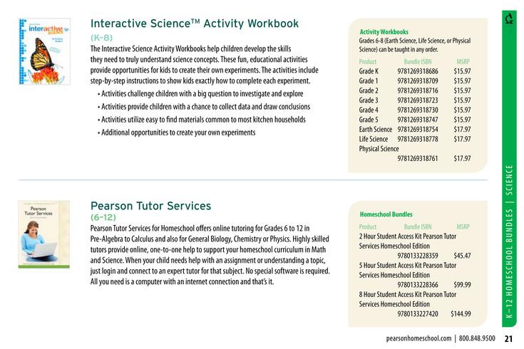 Pearson - Homeschool Catalog 2015 - Page 20-21 - Created