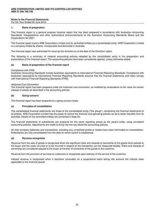 ARB 4x4 Accessories - 2010 ARB Corporation Ltd  Annual Report - Page