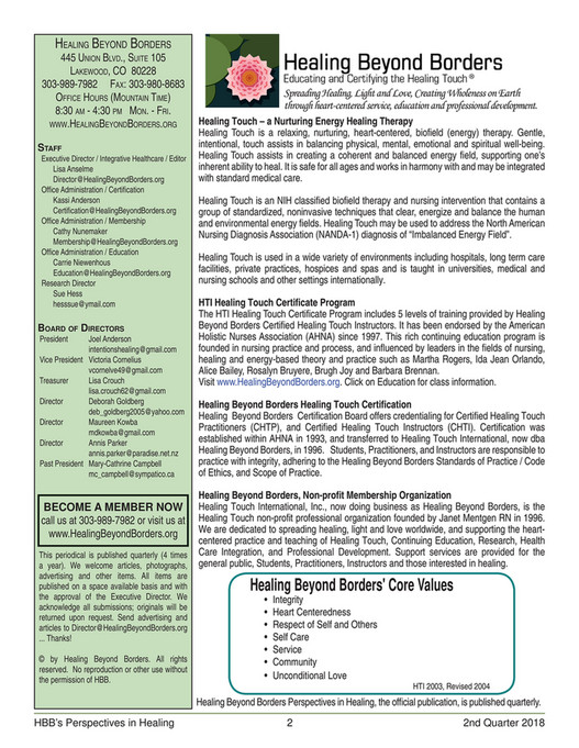 Healing Beyond Borders - 2nd Quarter 2018 Newsletter - Page 1