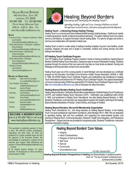 Healing Beyond Borders - 3rd Quarter 2015 Newsletter - Page 1