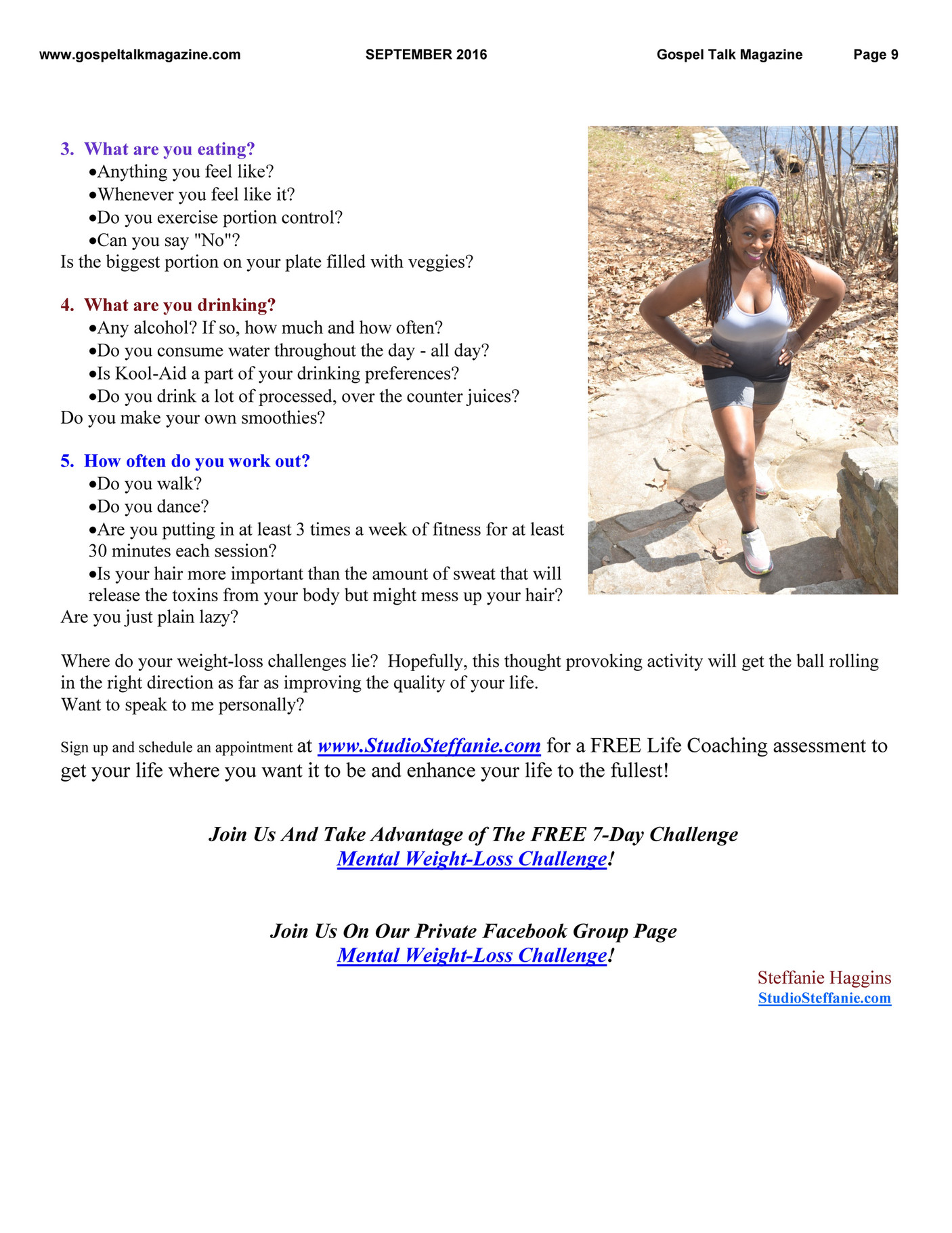 gospel talk magazine 2016 page 8 9 created join us and take advantage of the 7 day challenge mental weight loss challenge join us on our private facebook group page