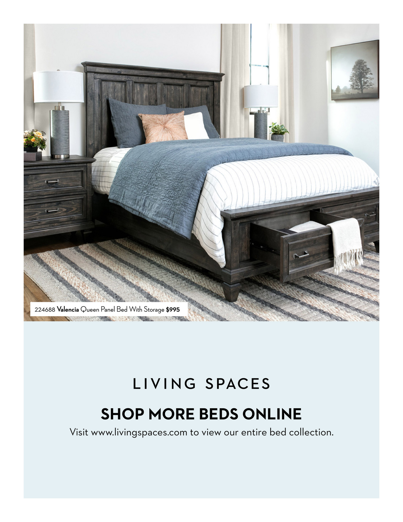 Living Spaces Bed Lookbook Summer 2019 Willow Creek Full Panel Bed