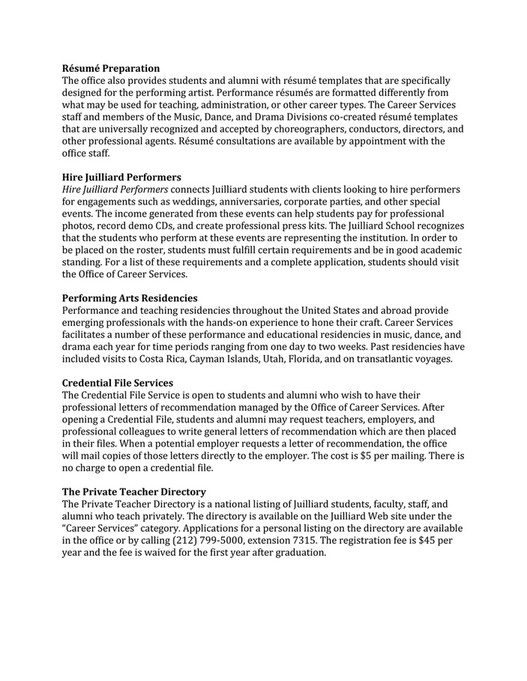 awesome juilliard resume template